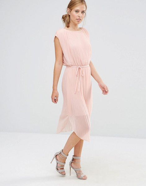 Warehouse Pleated Curved Hem Dress in nudepink
