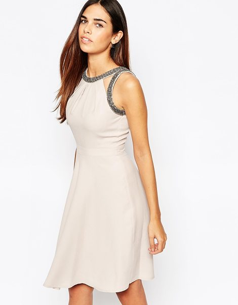 Warehouse Premium Embellished Skater Dress in pink - Evening dress by Warehouse, Smooth woven fabric, Scoop...