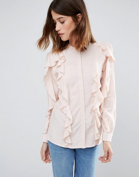 Warehouse Ruffle Blouse in pink - Top by Warehouse, Soft-touch woven fabric, Round...