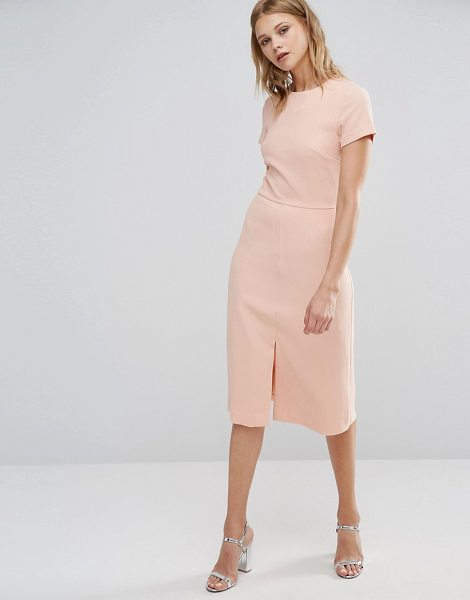 Warehouse Split Front Dress in pink - Midi dress by Warehouse, Woven fabric, Round neckline,...