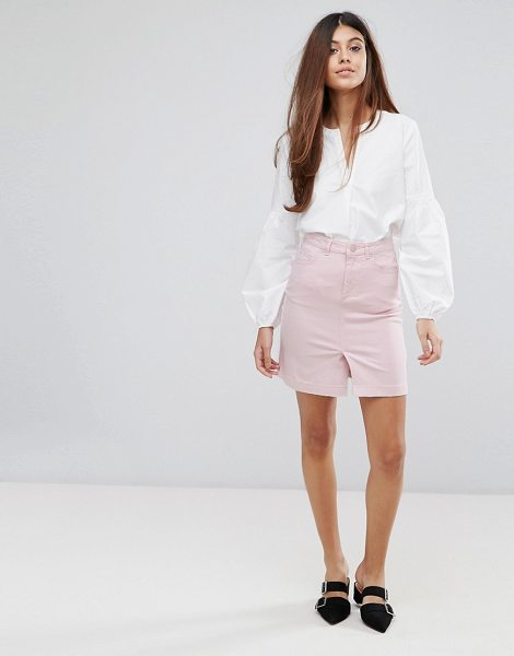 "Warehouse Split Front Skirt in pink - """"Mini skirt by Warehouse, Non-stretch denim, High-rise..."