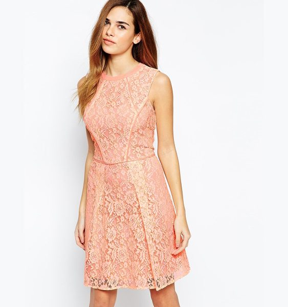 Warehouse Structured lace a line dress in peach - Evening dress by Warehouse Lace fabric Crew neckline...
