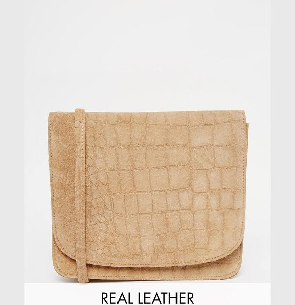 Warehouse Suede croc crossbody in tan - Cart by Warehouse Real leather outer Croc texture finish...