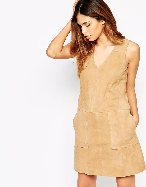 WAREHOUSE Suede shift dress in tan - Dress by Warehouse Unlined, smooth suede V-neckline Side...