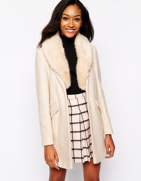 Warehouse Tweed faux fur collar coat in pink - Coat by Warehouse Textured fabric Faux fur collar...
