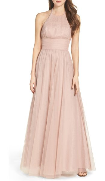 Watters abigale tulle halter gown in blush - Romantic and ethereal in floor-sweeping tulle, this...
