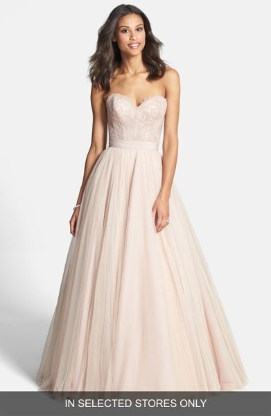 Watters carina lace bustier in rose quartz/ rose glow - This wedding gown can't be purchased online but is...