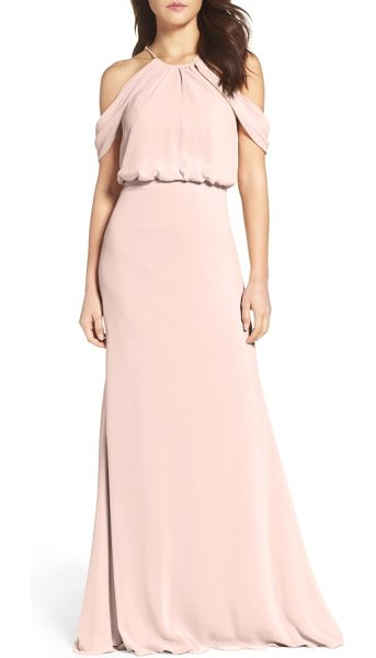 Watters deni a-line chiffon gown in buff - This elegantly draped chiffon gown with a truly ethereal...