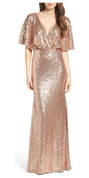 Watters elson sequin blouson gown in rose gold - Go all-out glam in this beautifully draped blouson gown...