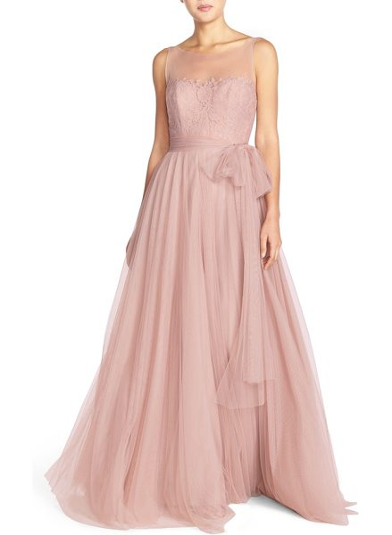 Watters 'lisa' illusion yoke lace & bobbinet a-line gown in blush - Write your own fairytale in this entrancing gown that...