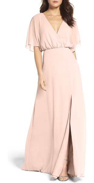 Watters lottie a-line chiffon gown in buff - Crafted from floaty chiffon, this floor-sweeping gown is...