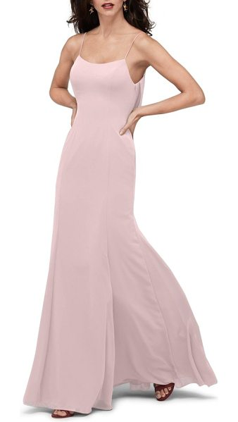 Watters melanie cowl back chiffon gown in buff - Elegant ripples captivate below the open back of a...