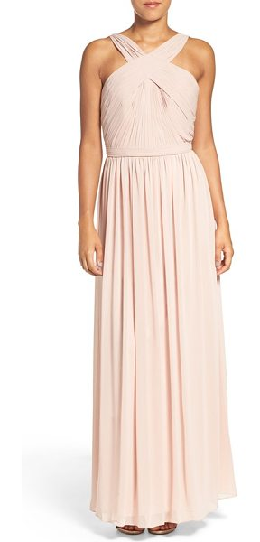 Watters 'micah' crisscross neck a-line chiffon gown in buff - Exuding Grecian-goddess elegance, a pleated chiffon gown...