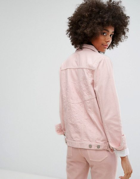 "Waven Classic Denim Jacket with Tonal Embroidery in Pastel in pink - """"Denim jacket by W VEN, Cotton denim, Pink wash, Spread..."