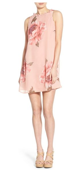 Way-In floral print ruffle trim swing dress in blush rose - Oversized flowers bloom over the silhouette of a floaty...