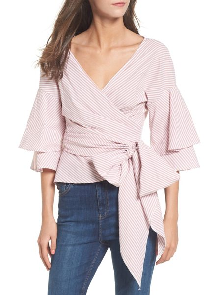 WAYF beckett tiered bell sleeve top in dusty rose stripe - Accented with a dramatic, oversized front tie, this...