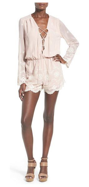 Wayf embroidered romper in blush/ cream - Eyelet-detailed floral embroidery creates cool, airy...