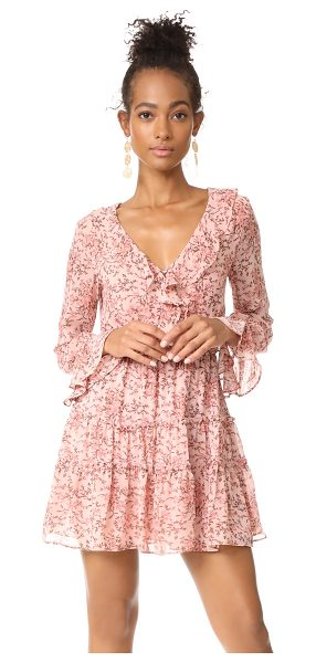 WAYF evelyn tiered mini dress in blush floral - This floral WAYF mini dress is detailed with ruffles...