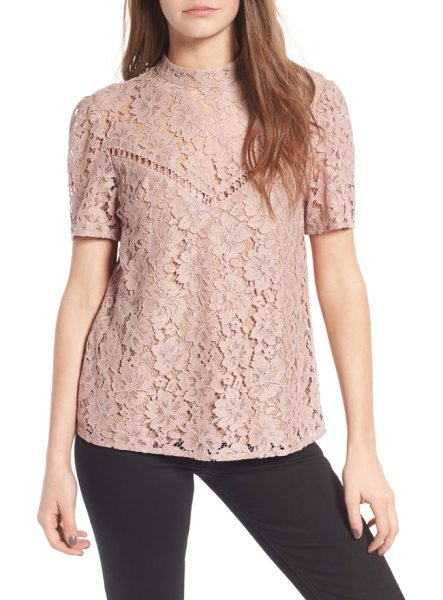 WAYF greyson lace top - Detailed with neutral lining and a sheer yoke, this...