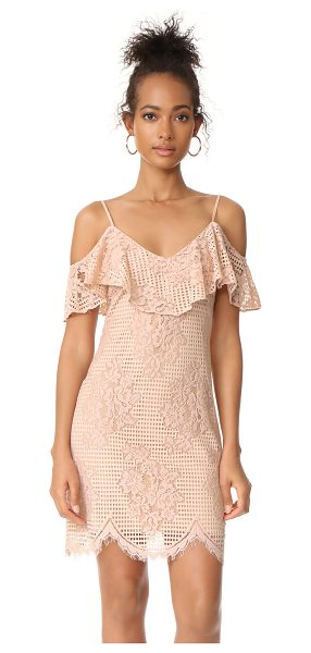 Wayf luxia off shoulder ruffle lace dress in nude lace - A soft lace WAYF dress with a charming, ruffled...