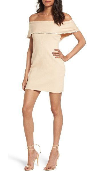 Wayf off the shoulder body-con dress in natural - Tiny pompoms trace the shoulder-baring fold-over...