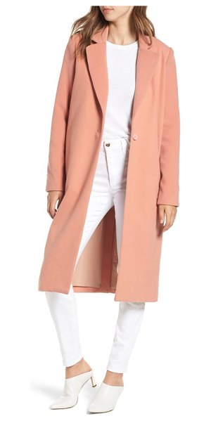Wayf perry faux fur trim coat in coral - Thick tufts of soft faux fur edge this beautifully...