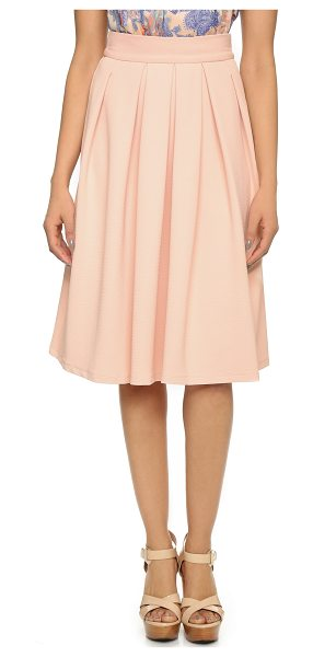 Wayf Pleated midi skirt in pink - A ladylike WAYF pleated midi skirt cut from diamond...