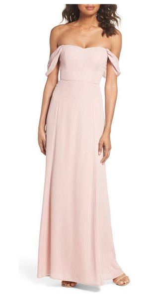 Wayf rachel off the shoulder gored maxi dress in rose - Dipped at the neckline and draped at the arms, beautiful...