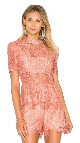 Wayf Stolen Kiss Peplum Top in rose - Self: 60% cotton 40% nylonLining: 100% poly. Dry clean...