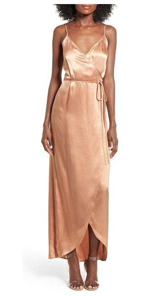 Wayf teagan satin wrap maxi dress in rose gold - Cut from lustrous satin in a flattering wrap silhouette,...