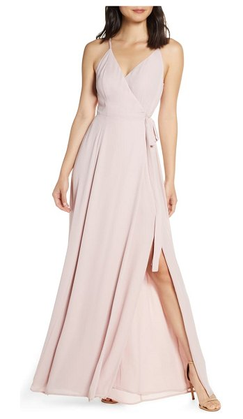 Wayf the angelina slit wrap gown in pink