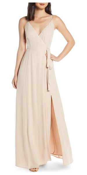 Wayf the angelina slit wrap gown in beige