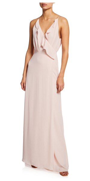 Wayf The Emma Ruffle-Neck Sleeveless Wrap Gown in ballet pink
