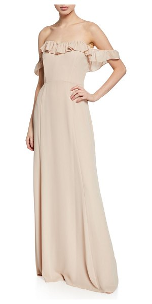 Wayf The Harlow Off-the-Shoulder Ruffle Gown in champagne
