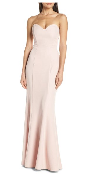 Wayf the mia lace-up back evening dress in pink