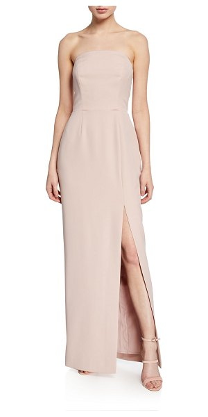 Wayf The Milla Strapless Bonded-Bodice Column Gown w/ Thigh Slit in nude rose