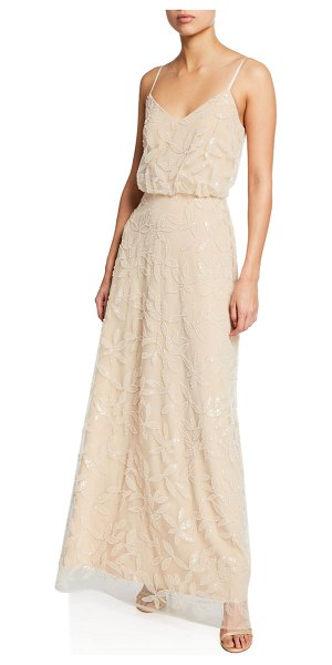 Wayf The Savannah V-Neck Blouson Cami Gown in pearl