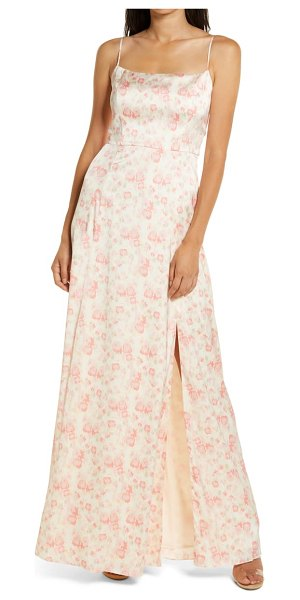 Wayf the verona etched floral gown in pink