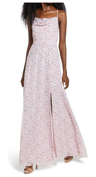 Wayf the wesley cowl neck gown in pink