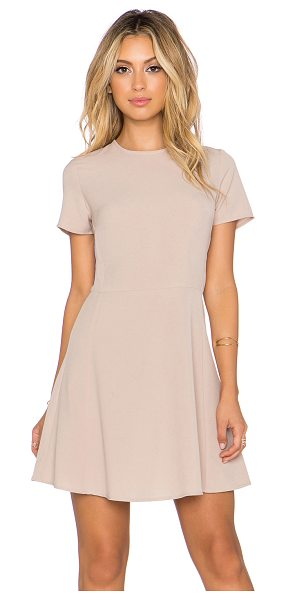 Wayf x REVOLVE Short Sleeve Dress in tan - 92% poly 8% spandex. Dry clean only. Unlined. Back...