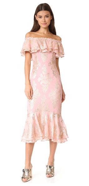 We Are Kindred blushing lotus off shoulder dress in dusky pink - Shimmering lamé designs lend an opulent touch to this...