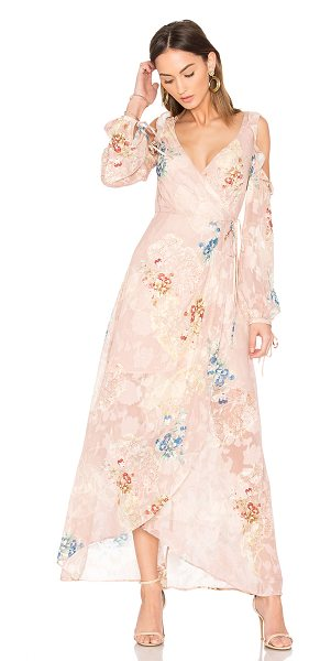 We Are Kindred Hayley Frill Cold Shoulder Dress in blush - Poly blend. Partially lined. Wrap front with tie...
