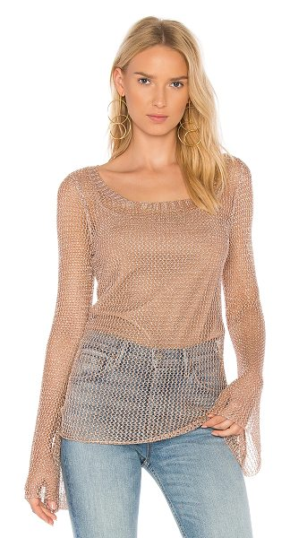 We Are Kindred Magnolia Bell Sleeve Top in metallic mesh - Self: 65% viscose 35% polyLining: 98% poly 2% elastane....