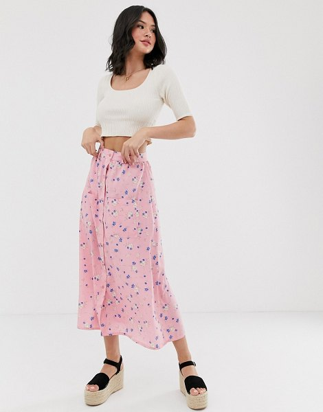 Wednesday's Girl midaxi skirt in floral print in pinkflora
