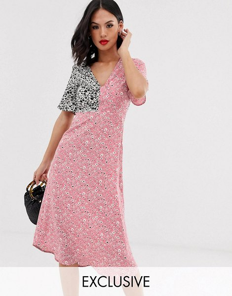 Wednesday's Girl midi dress in mixed print-pink in pink