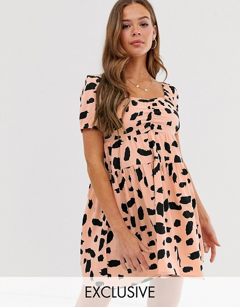 Wednesday's Girl mini tea dress in smudge print-pink in pink