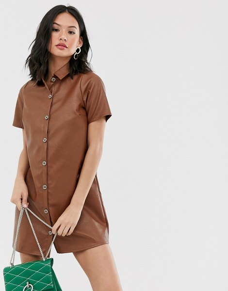 Wednesday's Girl relaxed shirt dress in faux leather-brown in brown