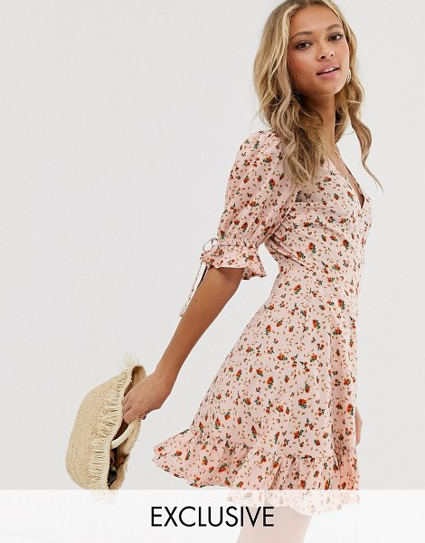 Wednesday's Girl wrap mini dress with tie sleeve in ditsy floral in pinkrose