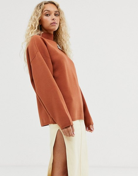 Weekday high neck sweater in rust-brown in brown