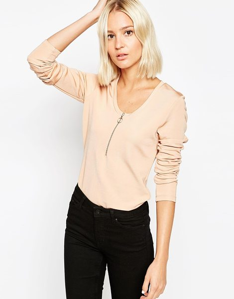 Weekday Long sleeve zip front top in beige - Top by Weekday Smooth knitted fabric Scoop neckline Zip...